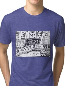 License Plates Black & White Tri-blend T-Shirt