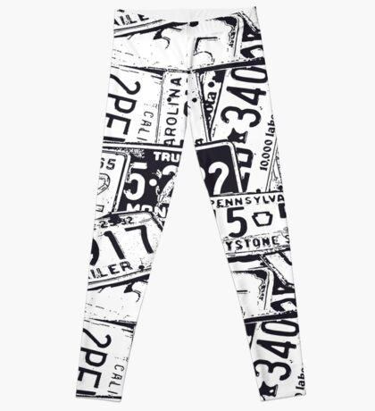 License Plates Black & White Leggings