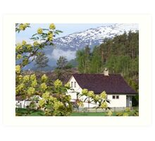 Wooden House with Mountain Backdrop Art Print