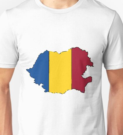 Romania Map with Romanian Flag Unisex T-Shirt