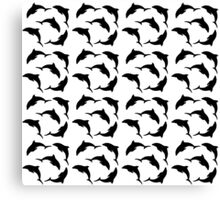 Cute dolphins swimming in circle Canvas Print
