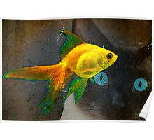Wishful Thinking - Cat and Goldfish Art by Sharon Cummings Poster