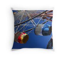Ferris Wheel on a blue day Throw Pillow
