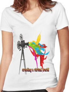 Creating a virtual world Women's Fitted V-Neck T-Shirt