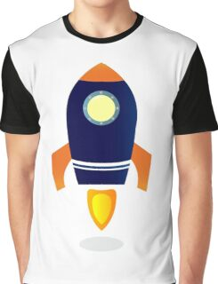 Blue Rocket ship. Vector cartoon Graphic T-Shirt