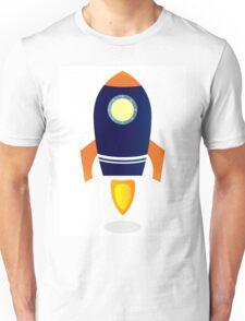 Blue Rocket ship. Vector cartoon Unisex T-Shirt