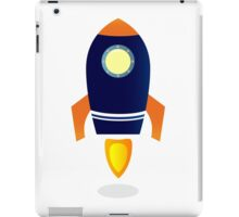 Blue Rocket ship. Vector cartoon iPad Case/Skin