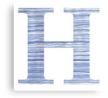 Letter H Blue Watercolor Stripes Monogram Initial Canvas Print