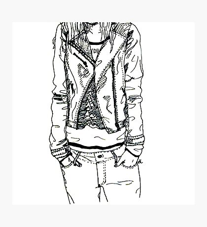 Girl in JD Tee Doodle Photographic Print