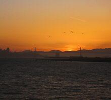 Sun Set Bay Bridge by David Denny