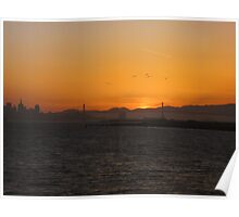 Sun Set Bay Bridge Poster