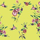 Pansies and Peonies in Lime & Purple by ThistleandFox