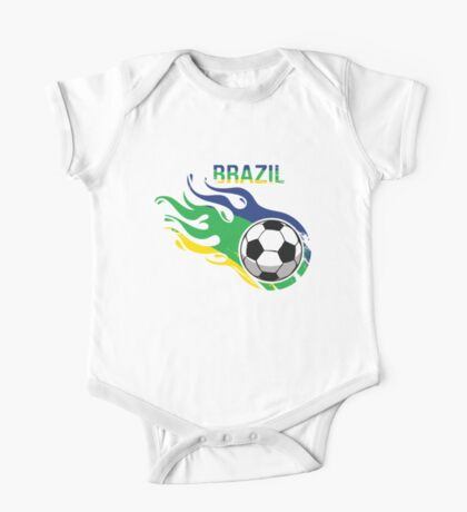Brazil Brasil Soccer Ball One Piece - Short Sleeve