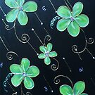 Floral Swirls Black and Green by Michelle Potter