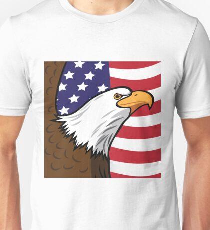 Bald Eagle on American flag background Unisex T-Shirt
