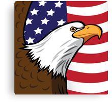 Bald Eagle on American flag background Canvas Print