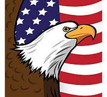 Bald Eagle on American flag background Photographic Print