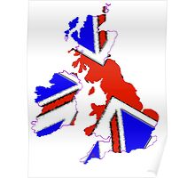 United Kingdom Map with Flag Poster