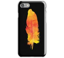 Orange Watercolour FEATHER iPhone Case (Black) iPhone Case/Skin