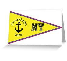 ONONDAGA LAKE NEW YORK NAUTICAL FLAG SAILING BOATING FISHING SYRACUSE ANCHOR Greeting Card