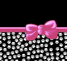 Ribbon, Bow, Dog Paws, Paw-prints - White Black Pink by sitnica