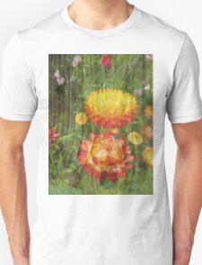 Flowers On Wood. Unisex T-Shirt