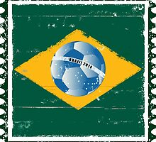Brazil flag like stamp in grunge style by siloto