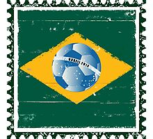 Brazil flag like stamp in grunge style Photographic Print