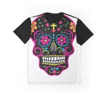 Mexican Skull Black Graphic T-Shirt