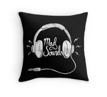 Mad Sounds White Throw Pillow