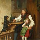 Felix Schlesinger, Rustic Interior with Grandfather, Granddaughter and Dog by MotionAge Media
