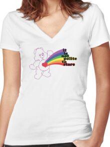 Stare Bear Women's Fitted V-Neck T-Shirt