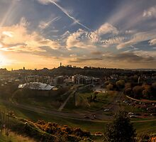 Panoramic Sunset of Edinburgh from Salisbury Crags by Miles Gray