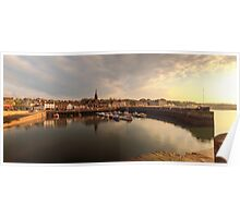 Sun begins to set over Newhaven Harbour, Edinburgh Poster