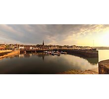 Sun begins to set over Newhaven Harbour, Edinburgh Photographic Print