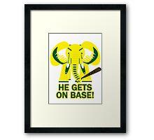 He Gets on Base! Elephant! Framed Print