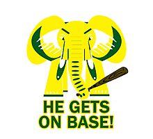 He Gets on Base! Elephant! Photographic Print