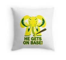 He Gets on Base! Elephant! Throw Pillow