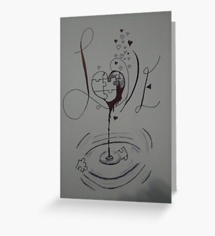 Broken puzzle of love  Greeting Card