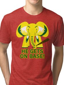 He Gets on Base! Elephant! Tri-blend T-Shirt