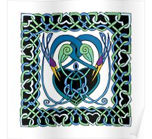 """In Flight"" Celtic Peacock Design (Border) Poster"