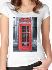London - Telephone booth alone Women's Fitted Scoop T-Shirt