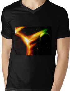 Retro space background Mens V-Neck T-Shirt