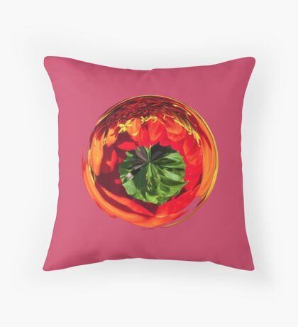 Red flower in glass globe Throw Pillow