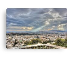 Sunbeams over the City in HDR Canvas Print