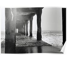 Manhattan Beach Pier, Black and White Film Photography  Poster