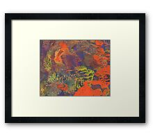 Sweet Orange and Blue Abstract by Laura L. Leatherwood Framed Print