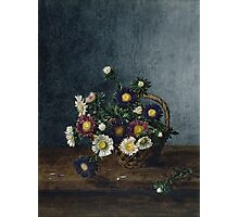 Leon Bonvin - Basket Of Asters. Still life with flowers: flowers, blossom, nature, Asters, floral flora, wonderful flower, plants, cute plant for kitchen interior, garden, vase Photographic Print