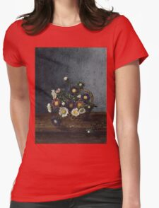 Leon Bonvin - Basket Of Asters. Still life with flowers: flowers, blossom, nature, Asters, floral flora, wonderful flower, plants, cute plant for kitchen interior, garden, vase Womens Fitted T-Shirt