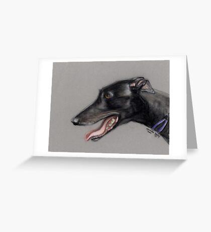 Black Greyhound Profile Greeting Card